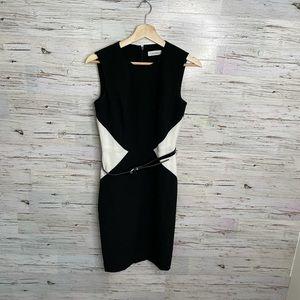 Calvin Klein career sheath dress white black belt